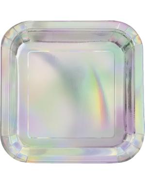 8 pratos iridescentes pequenos (18 cm)