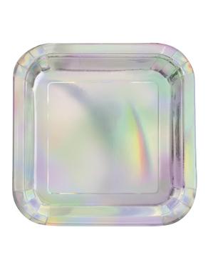 8 pratos iridescentes (23 cm)