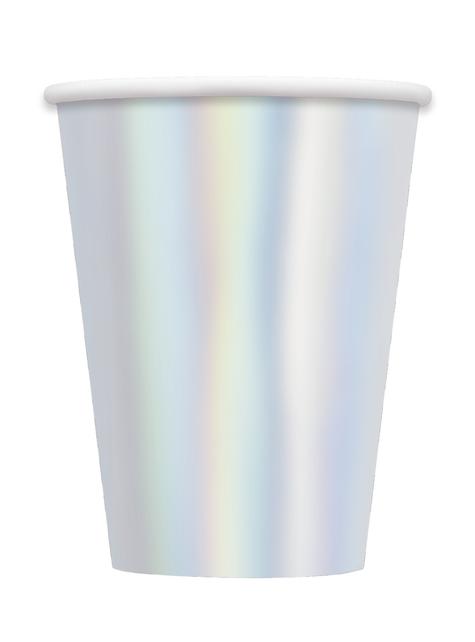 8 vasos iridiscentes grandes - Línea Colores Básicos