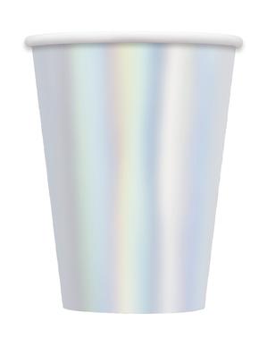 8 Duże Opalizujące Kubki - Linia Kolorów Podstawowych