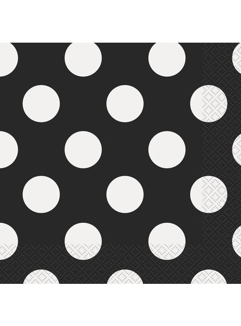 16 servilletas negras con topos blancos (33x33 cm)