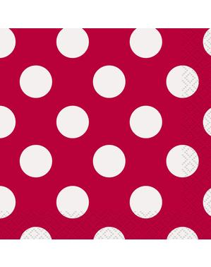 16 servilletas rojas con topos blancos (33x33 cm) - Línea Colores Básicos