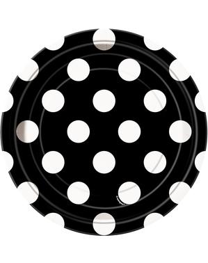 8 platos negro con topos blancos pequeños (18 cm)
