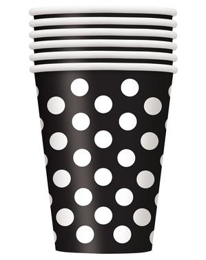 6 vasos negros con topos blancos grandes