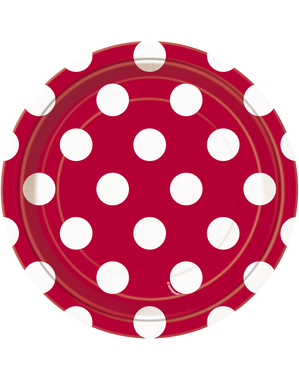 8 platos rojo con topos blancos pequeños (18 cm) - Línea Colores Básicos