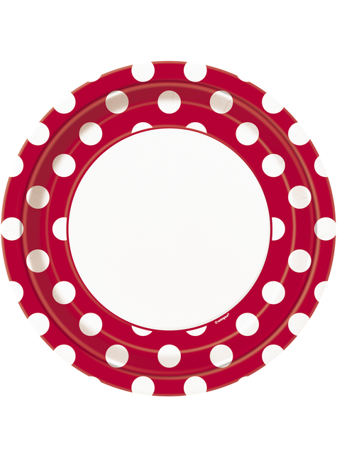 8 platos rojo con topos blancos (23 cm) - Línea Colores Básicos