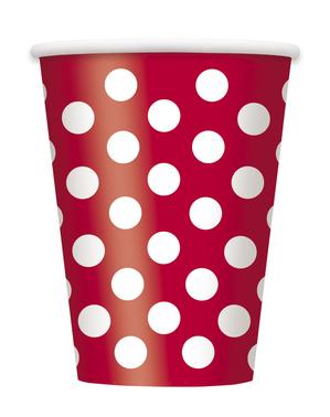8 Røde Kopper med Hvite Prikker - Línea Colores Básicos