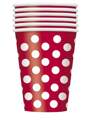 8 Røde Kopper med hvide prikker - Basale Farver Linje