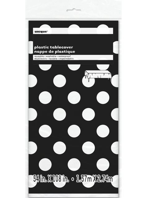 Mantel negro con topos blancos