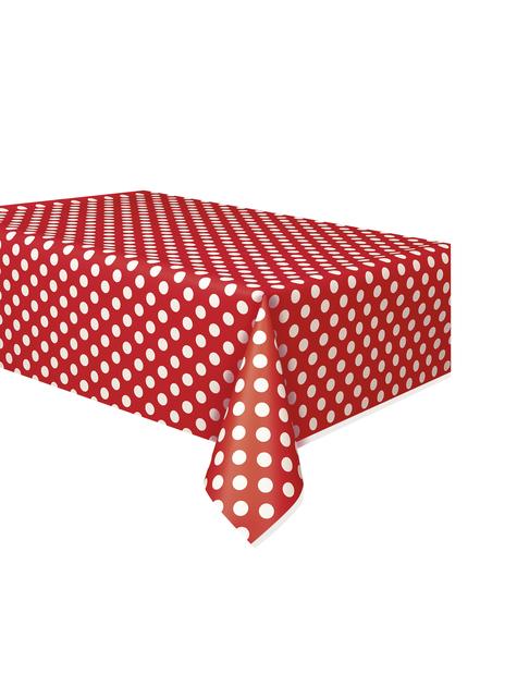 Mantel rojo con topos blancos rectangular - Línea colores Básicos