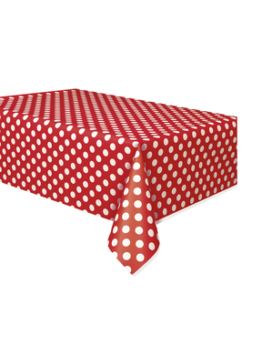 Rød Rektangulær Dug med hvide prikker - Basale Farver Linje