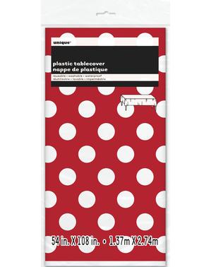 Rødt Rektangulært Bordtrekk med Hvite Polkaprikker - Línea Colores Básicos