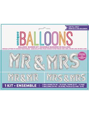 """""""Mr & Mrs"""" Sølvfarget Ballong Girlander"""