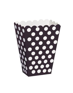 8 caixas de pipocas em preto com pintas brancas