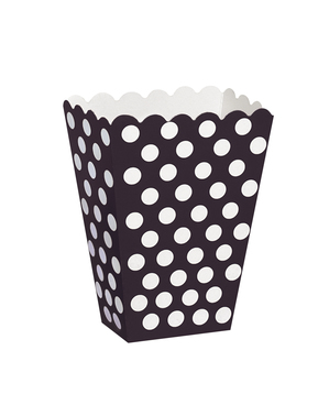 8 Popcornæsker sorte med hvide prikker
