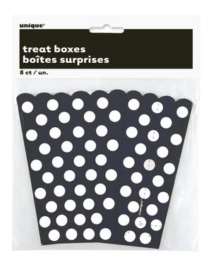 8 černých krabiček na popcorn s bílými puntíky