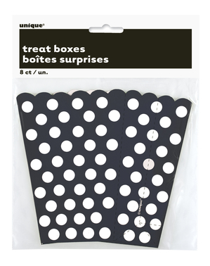 8 Popcornboxen schwarz mit weißen Punkten