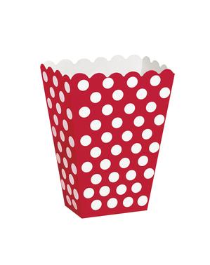 8 boîtes à popcorn rouge à pois blancs - Gamme couleur unie