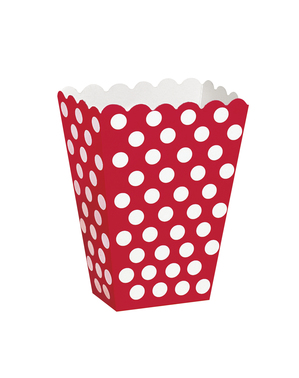 8 Popcorn Boxes Red with White Polka Dots - Línea Colores Básicos