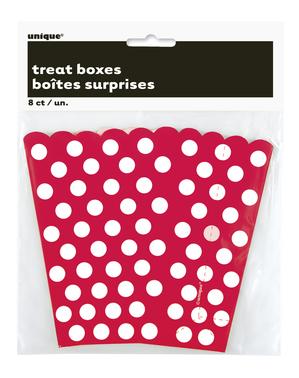 8 Czerwone Pudełka na popcorn w białe kropki - Linia Kolorów Podstawowych