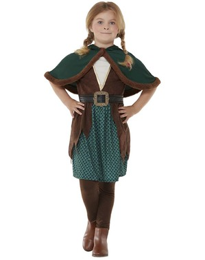 Costum de arcaș al pădurii pentru fată