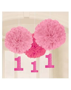 Decoração de aniversário rosa de pendurar 1 ano