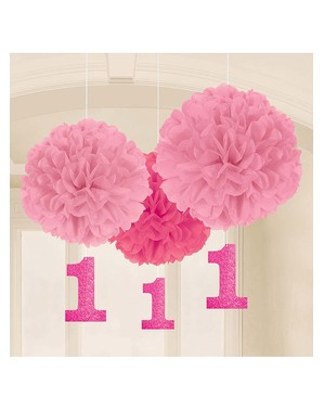 Decoración colgante rosa cumpleaños 1 año