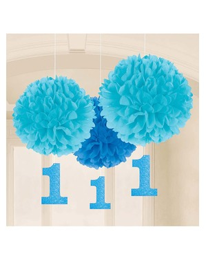 Niebieskie Wiszące Dekoracje 1. Urodziny
