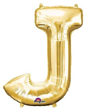 Letter J Foil Balloon in Gold (86cm)