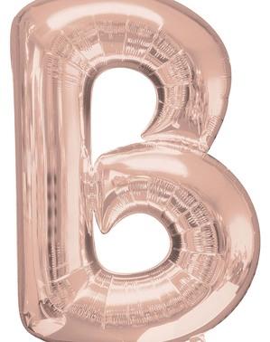 Balão de foil letra B rosa dourado (86cm)