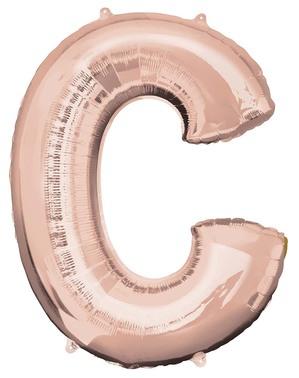 C-Kirjain Folioilmapallo Ruusukultaisena (81cm)