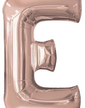 Balão de foil letra E rosa dourado (81cm)