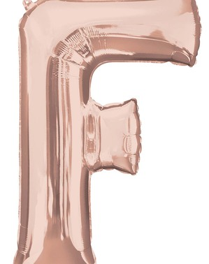 Ballon aluminium lettre F doré rose (81 cm)
