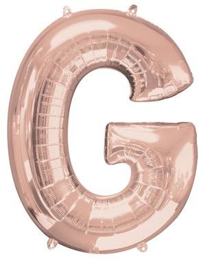 Ballon aluminium lettre G doré rose (81 cm)