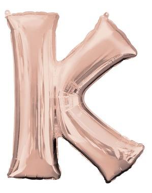 Letter K Foil Balloon in Rose Gold (83cm)