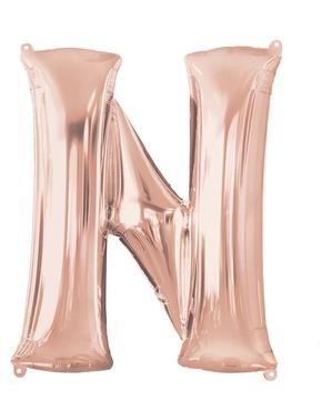 Ballon aluminium lettre N doré rose (81 cm)