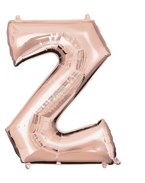 Letter Z folieballon in roségoud (83 cm)