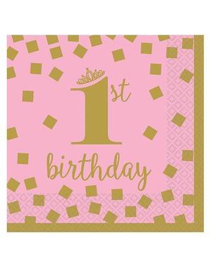 16 1. bursdagsservietter i rosa og gull