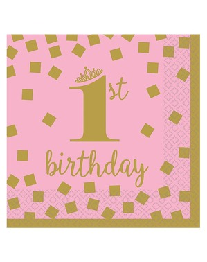 17 guardanapos 1 ano rosa e dourados