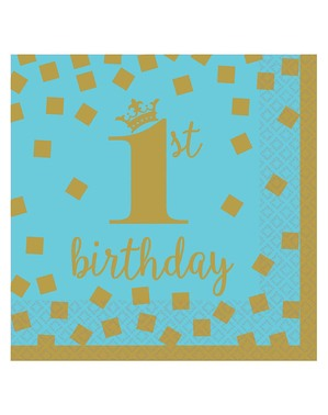 16 1. bursdagsservietter i blått og gull