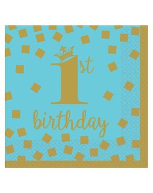 16 serviettes de premier anniversaire bleues et dorées