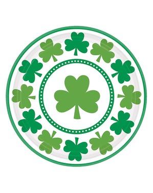 8 assiettes Saint Patrick trèfle (23 cm)