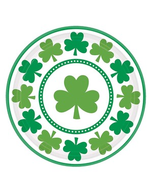 8 Saint Patrick treklöver tallrikar (23 cm)