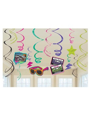 80s Themed Hanging Spirals