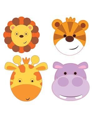 8 Maski Zwierzęta z Dżungli