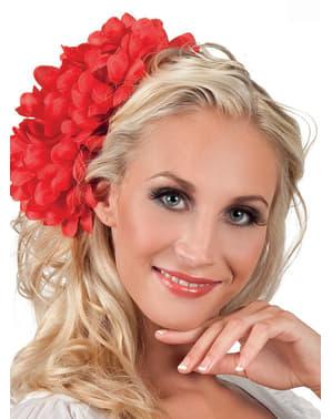 Dámská květina do vlasů červená