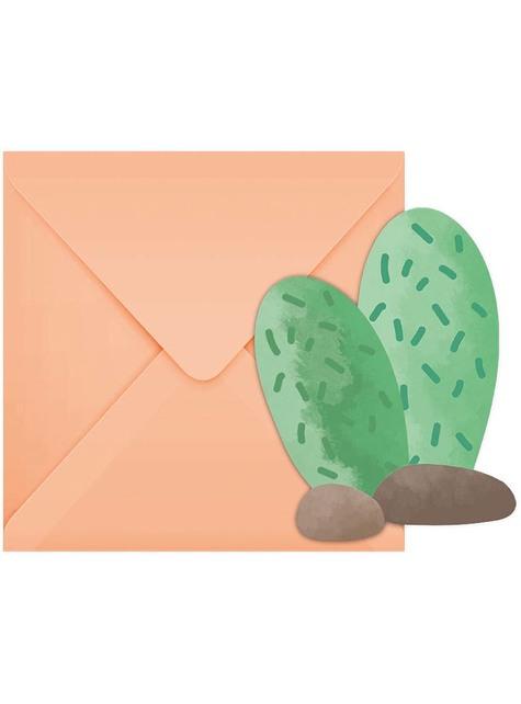 6 Cactus Invitations - Llama