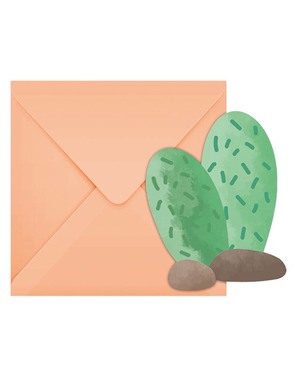 6 Kaktus Invitationer - Lama