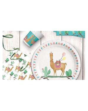 8 pratos de llama pequenos (20 cm) - Llama