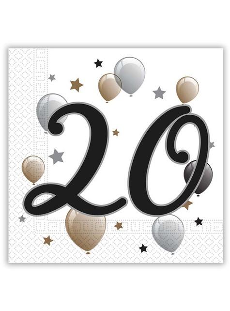 20 servilletas 20º cumpleaños (33x33 cm)